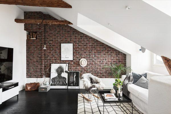 Brick wall Design for Living room