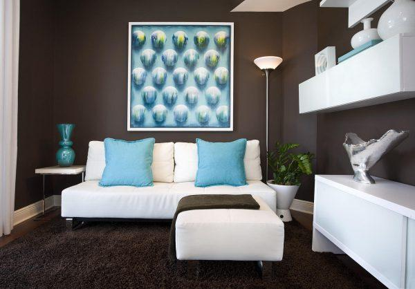 Blue and brown living room decor little piece of me for Turquoise color scheme living room