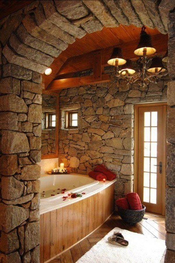bathrooms with stone walls