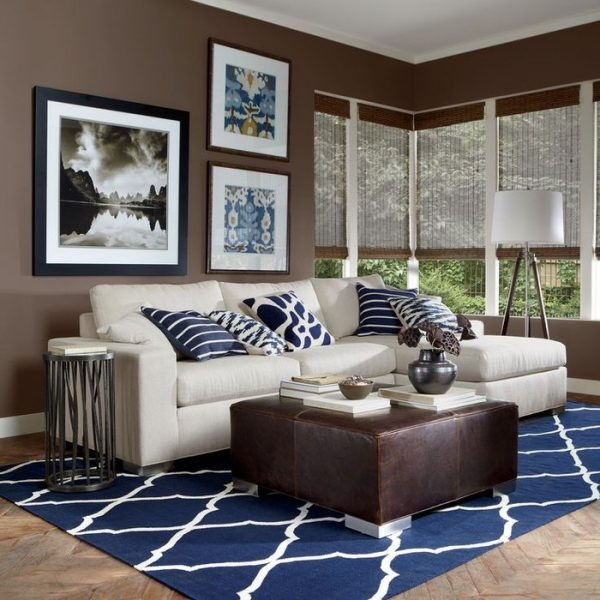 Blue and brown living room decor little piece of me for Brown and blue living room designs