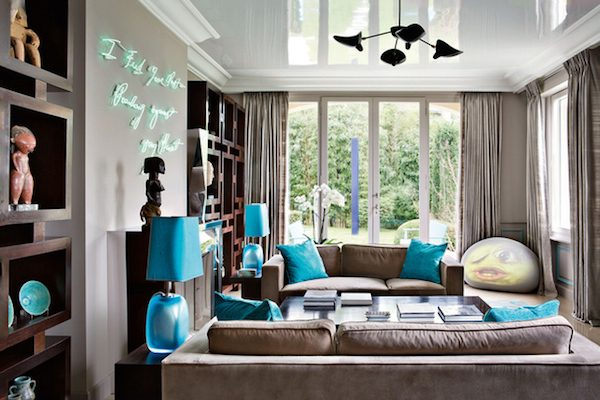 Brown blue living room ideas modern house for Brown and blue living room designs