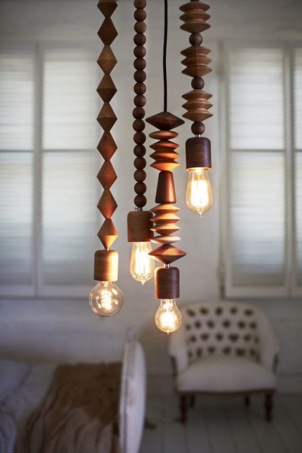 chandelier with wooden beads