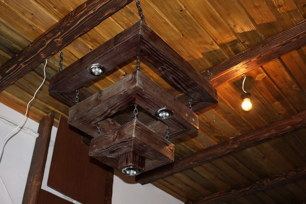 large wood chandelier