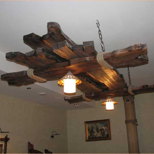 natural wood chandelier