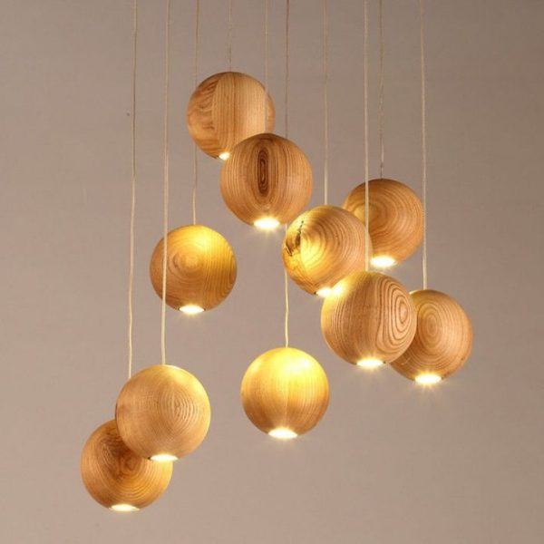 wooden ball chandelier