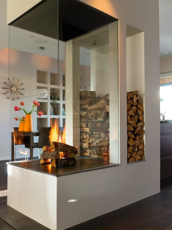 wood holder inside fireplace