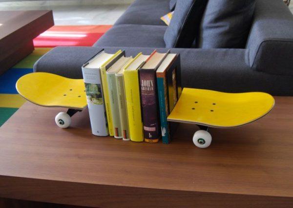 skateboard bookshelf