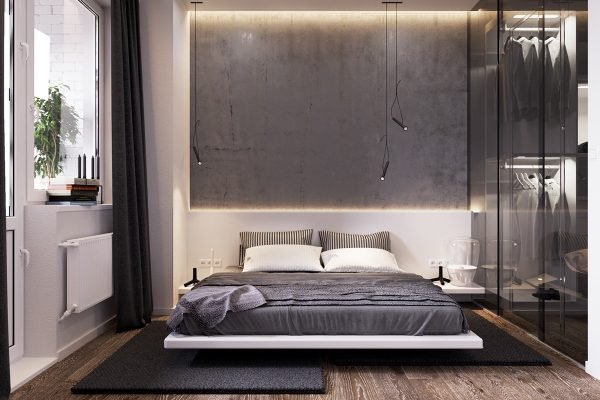 Concrete wall design in bedroom
