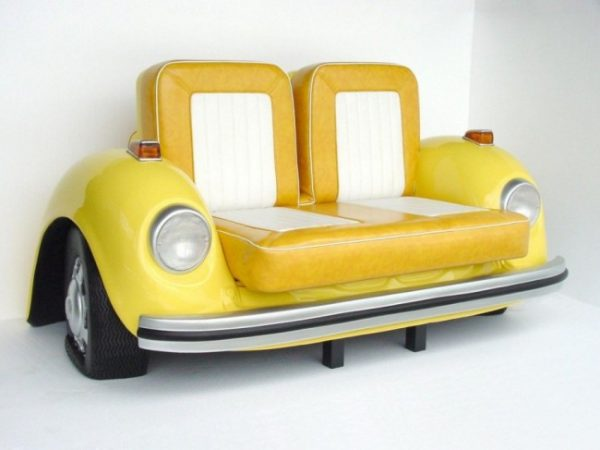 car parts used as furniture