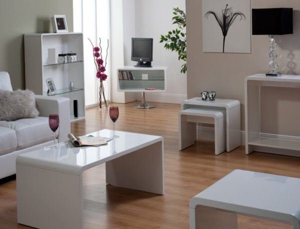 high gloss units for living room