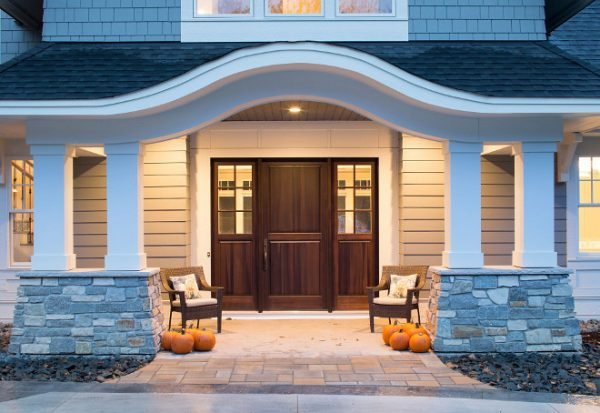 front wood doors with glass