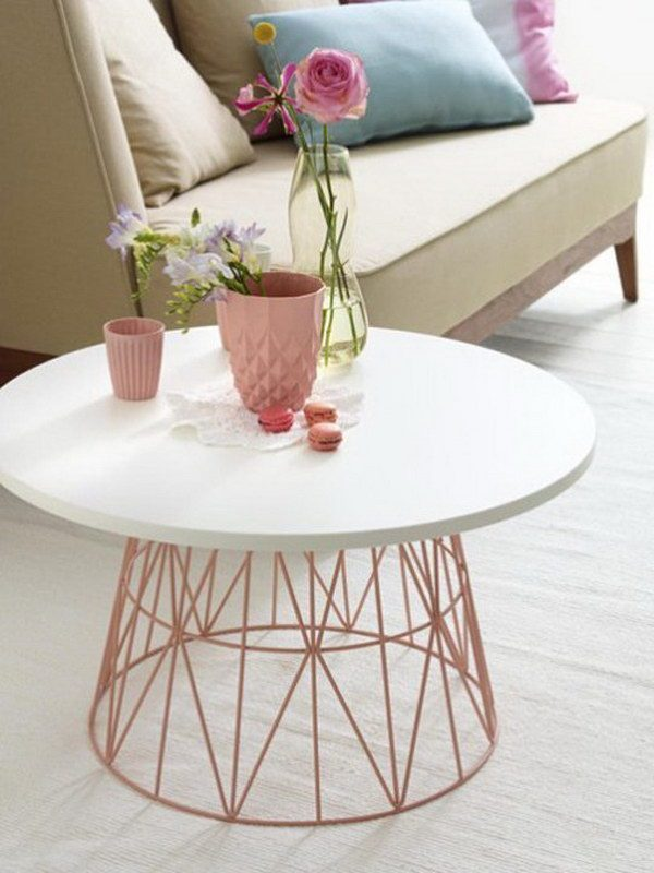 wire base side table