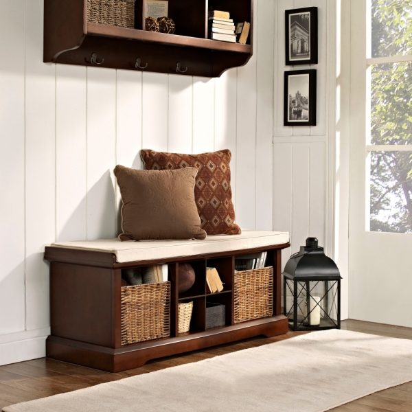 wood storage bench with baskets