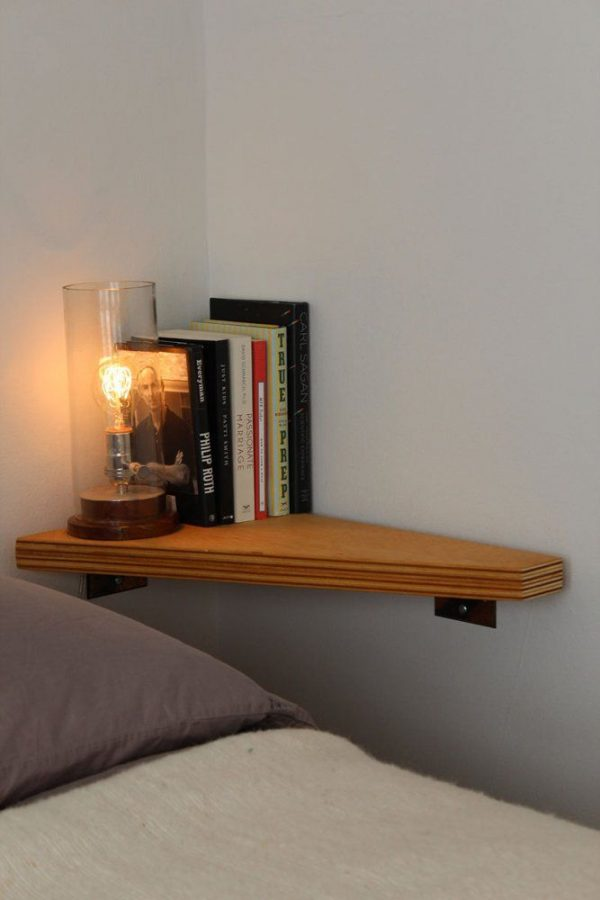 wall mounted bedside shelf