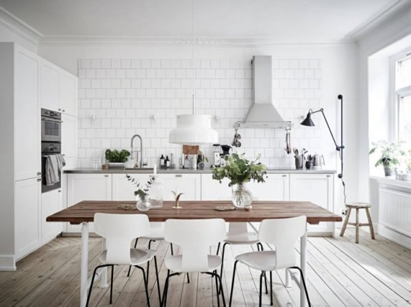 white kitchens with wood floors