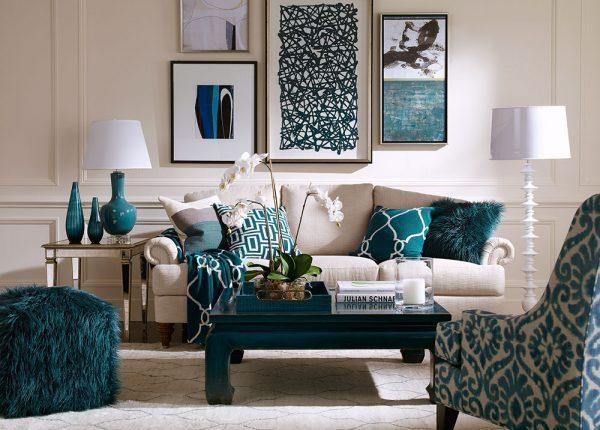 Blue and white interior design