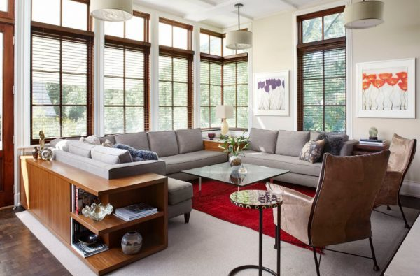 Functional solution for stylish living room with a corner sofa