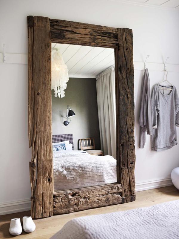wood framed standing mirror