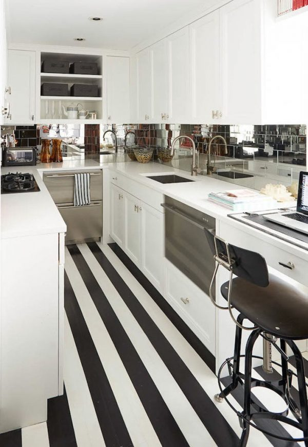 black and white striped floor