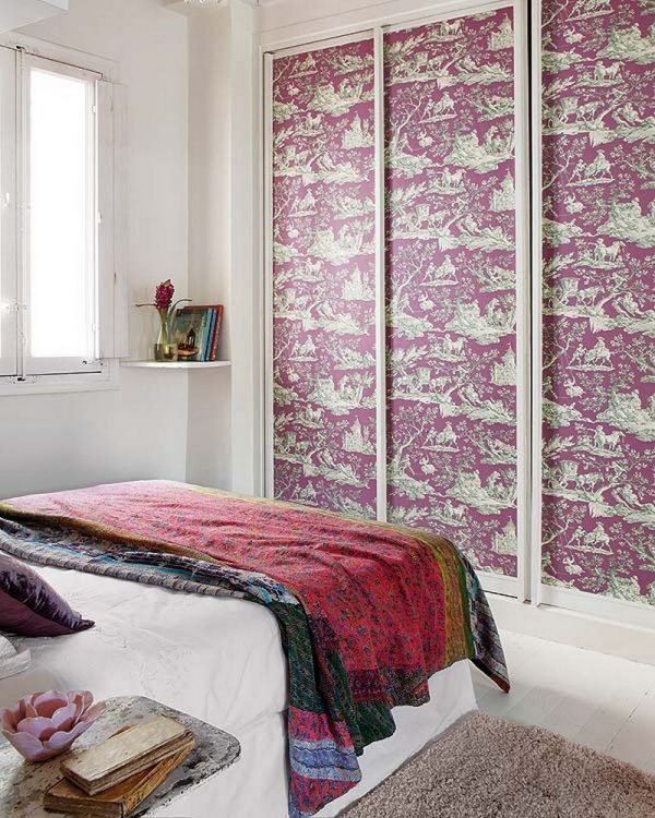 Beautify Old Furniture With Wallpaper Wardrobe Makeover