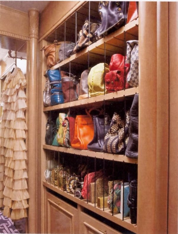 organizing handbags in closet