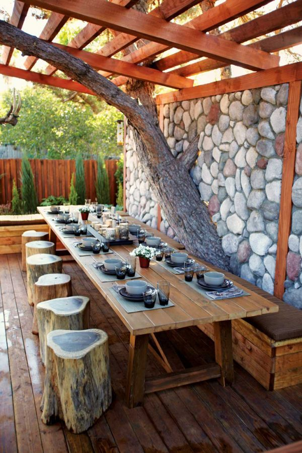 outdoor rustic dining table