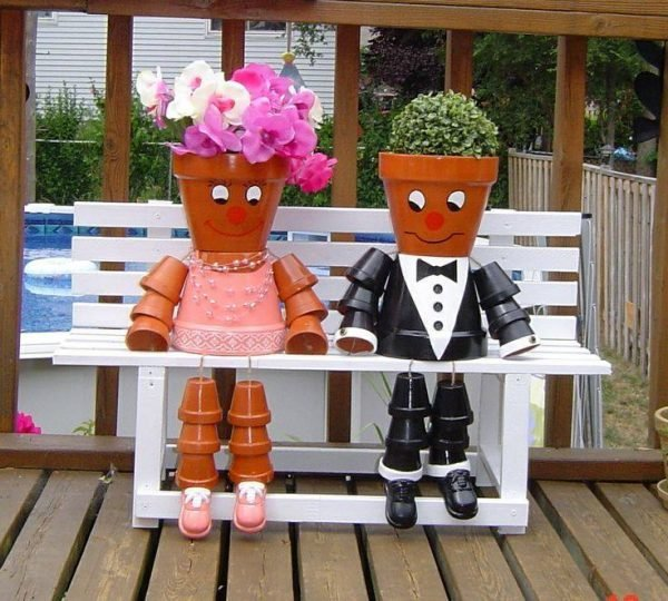 clay flower pot people