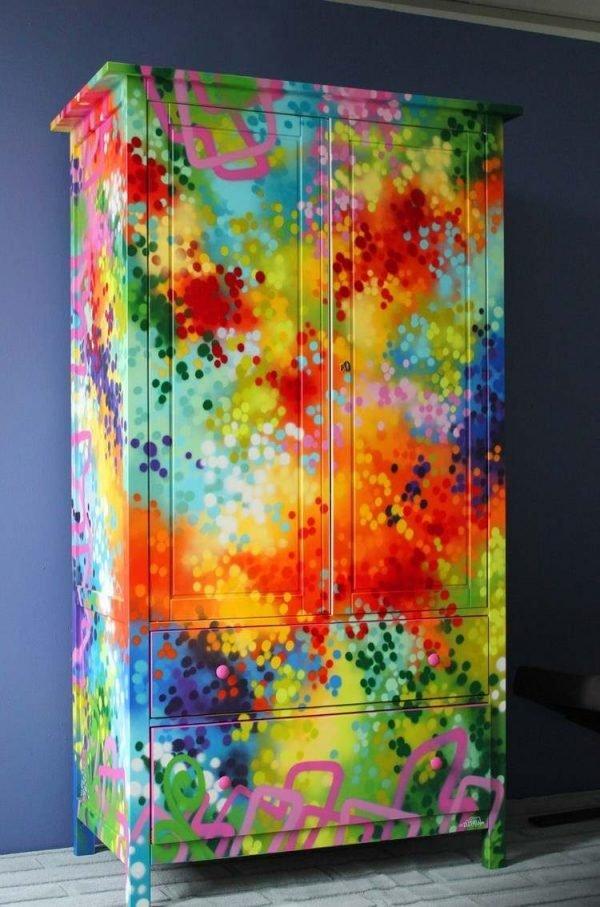 spray painting a dresser