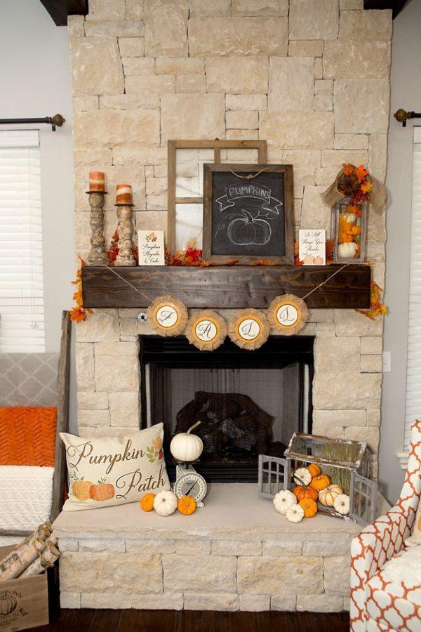 Fall decorations for fireplace mantel