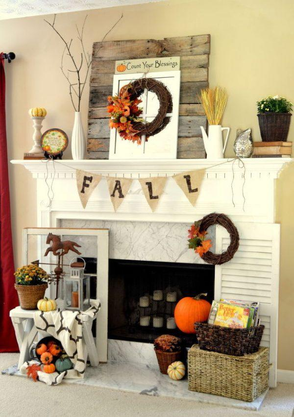 fall fireplace decorating ideas