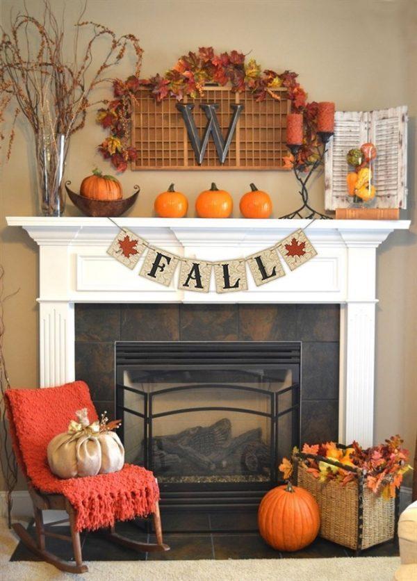 fall fireplace mantel displays