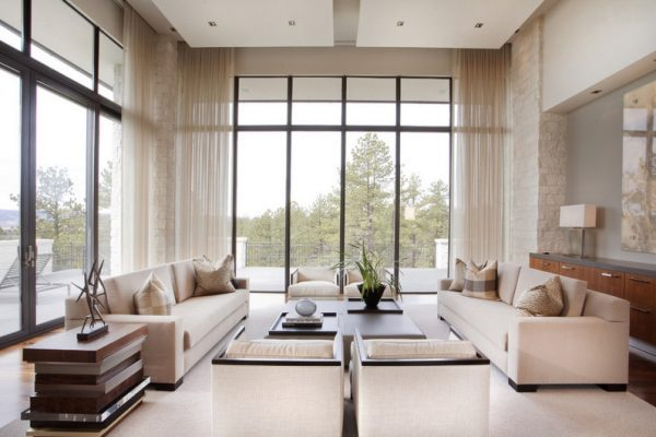 Living rooms with floor to ceiling windows