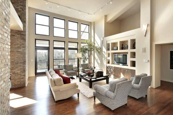 high ceiling windows