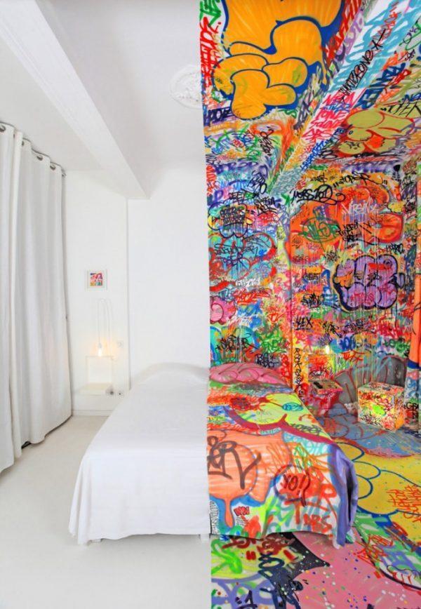 graffiti themed bedroom