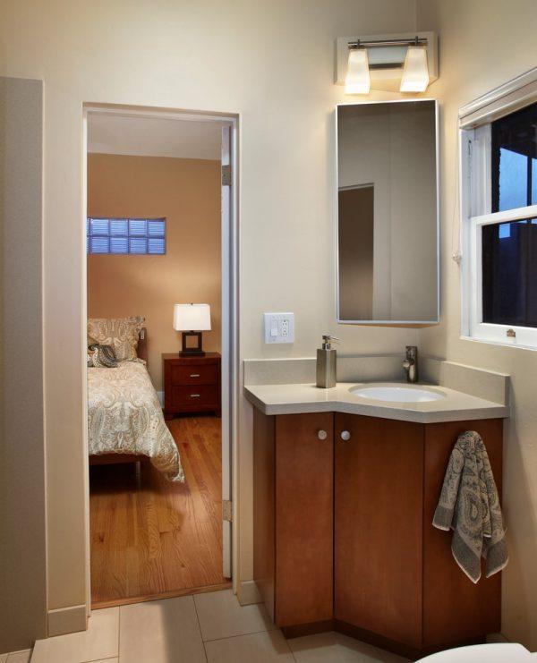 corner bathroom vanity with mirror