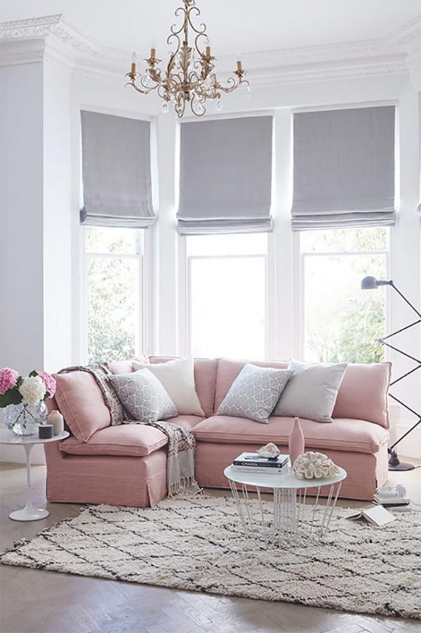 blush pink and grey living room