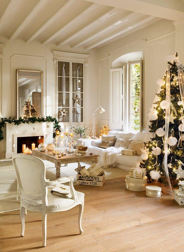 white and gold xmas decorations