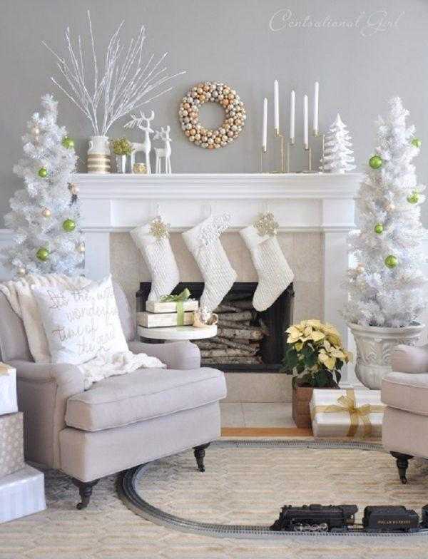 silver and white holiday decorations
