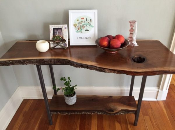 natural wood entry table