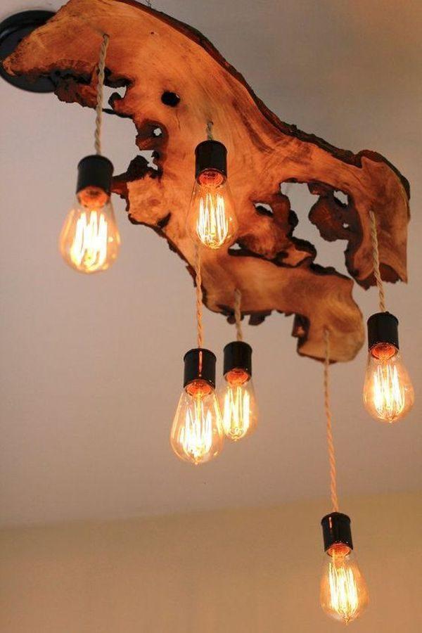 natural wood chandelier