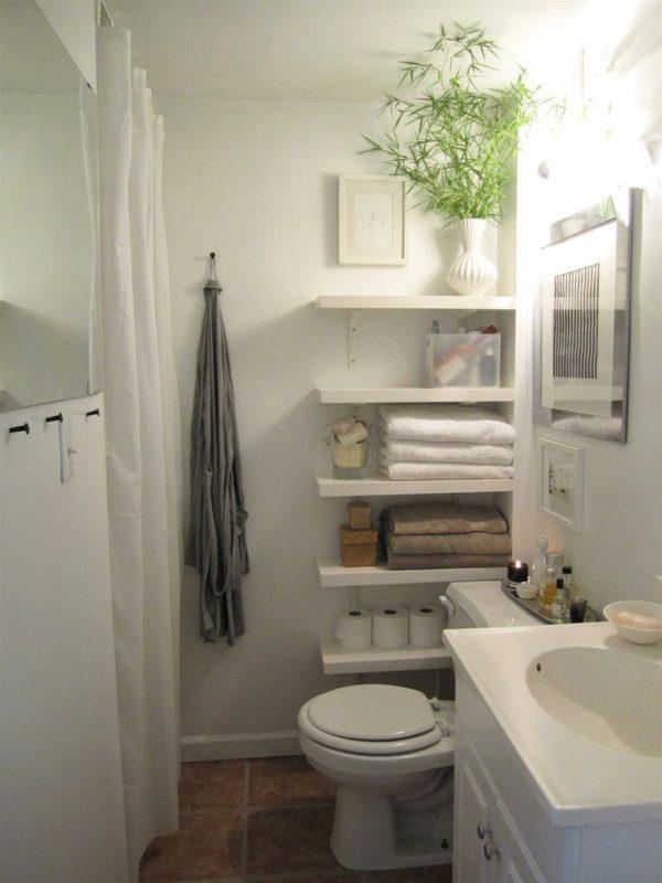 small white bathroom wall shelf