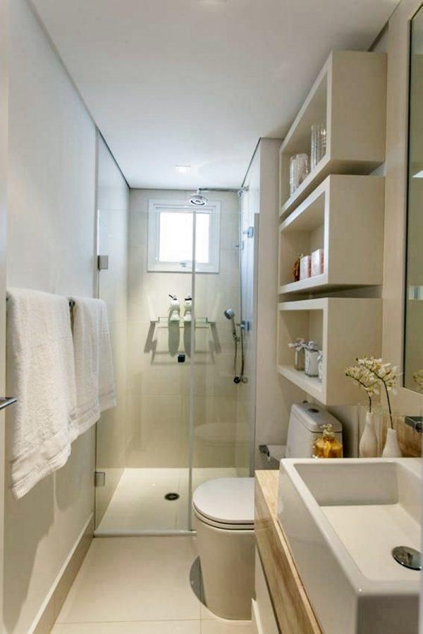 white wooden bathroom shelves