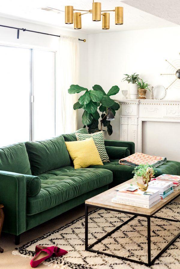 comfortable velvet sofa