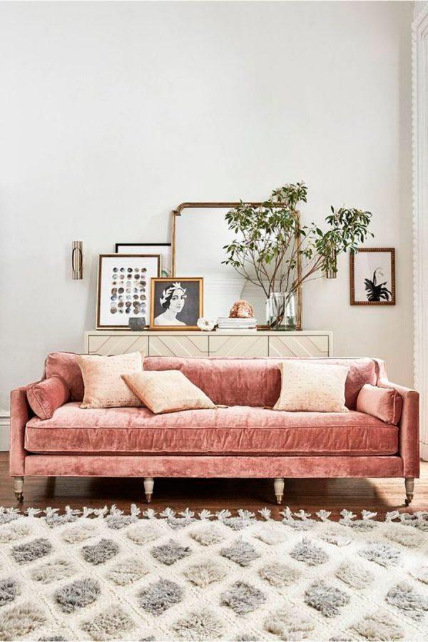 dusty pink velvet sofa