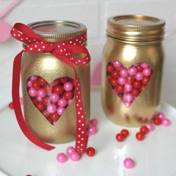 mason jars filled with candy