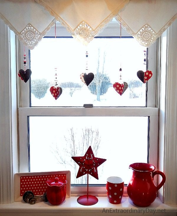 hanging hearts for windows