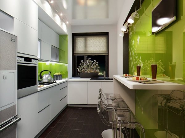 narrow kitchen design