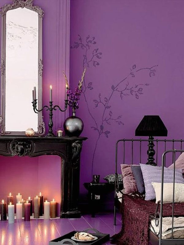 violet color bedroom