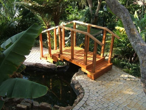 small wooden decorative garden bridge