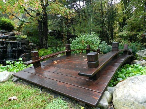 curved wooden bridge